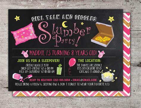 slumber party invitation / girls slumber party invitations