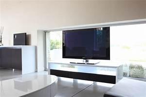 Meuble Tv Haut : meuble tv haut de gamme blanc ~ Teatrodelosmanantiales.com Idées de Décoration