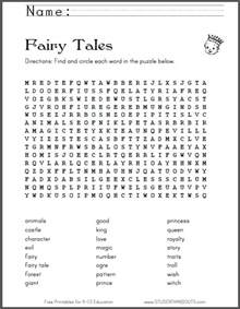 Fairy Tale Word Search Puzzle Printables