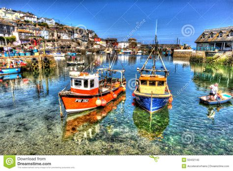 Boat Harbour Rock Fishing by Fishing Boats Mevagissey Harbour Cornwall Uk Clear Blue