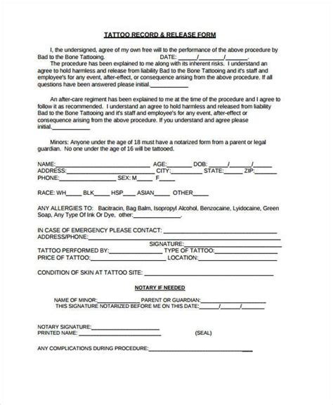 notarized medical release form awesome tattoo release form 9 best of conditional release