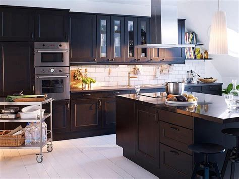 ikea black brown kitchen cabinets la cuisine le des cuisines 7433
