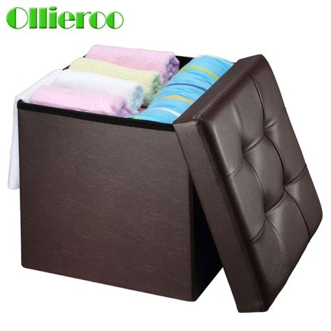 Foldable Storage Ottoman by Ollieroo Collapsible Storage Ottoman Pu Leather Foldable