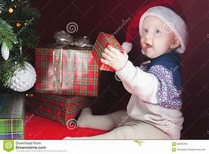 Happy Surprised Baby Holding Gift Box, Present, Christmas ...