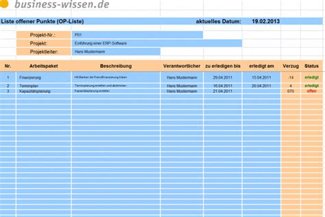 offene punkte liste fuer das projektmanagement variante
