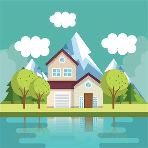 lake house illustrations royalty  vector graphics