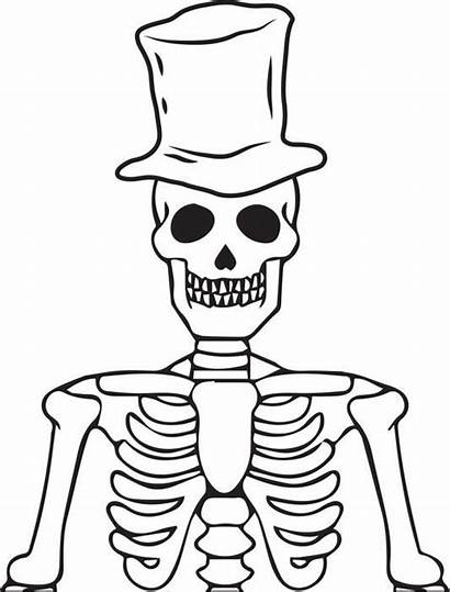 Skeleton Halloween Coloring Printable Pages Dog Colouring