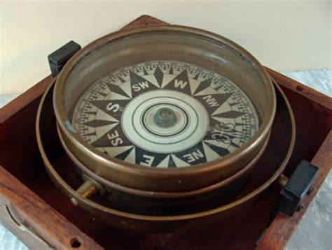 Old Boat Navigation Tools by Antique Dry Card Compass In Mahogany Box Skipjack