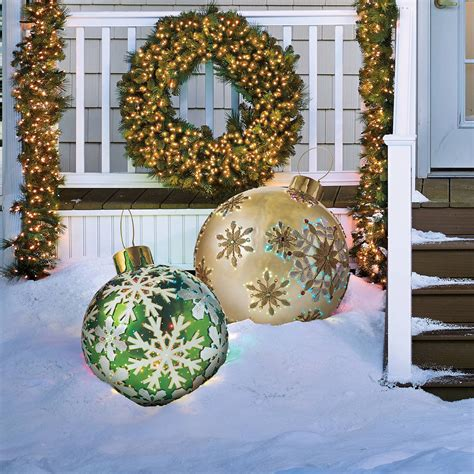 outdoor lighted tree ornaments massive fiber optic led outdoor christmas ornaments the