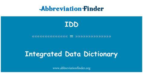 Dati Definizione Definizione Idd Dizionario Di Dati Integrato Integrated
