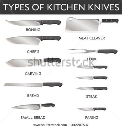 different types of kitchen knives blade steak stock vectors vector clip art shutterstock