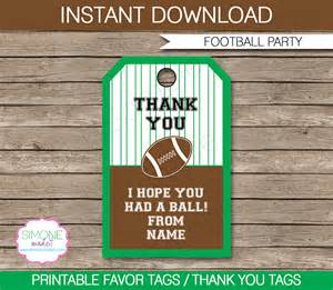 party favor labels football party favor tags thank you tags birthday party