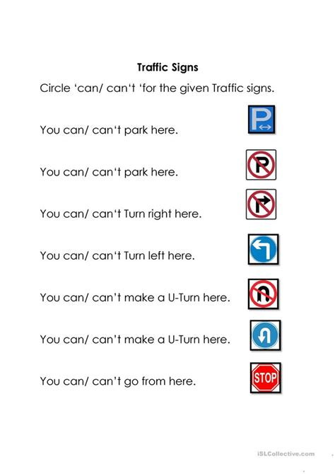 traffic signs worksheet  esl printable worksheets