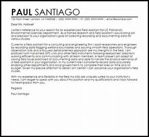 Examples Of A Letter Of Recommendation Field Assistant Cover Letter Sample Cover Letter