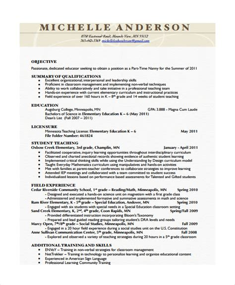 Nanny Resume Template by Sle Nanny Resume Template 6 Free Documents