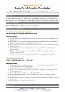 Senior Payroll Specialist Resume Samples