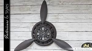 Hélice D Avion Déco : grande horloge murale en forme d 39 h lice d 39 avion 140 cm int rieurs styles ~ Teatrodelosmanantiales.com Idées de Décoration