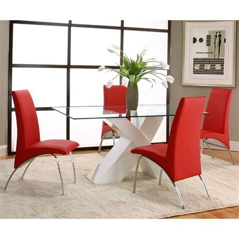 Mensa White Base Dining Room Set With Red Chairs Cramco