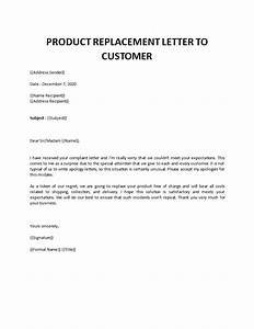 Product, Replacement, Letter, To, Customer