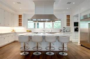 island stools kitchen island with white leather barrel back counter stools transitional kitchen