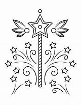 Coloring Wand Pages Fairy Popular sketch template