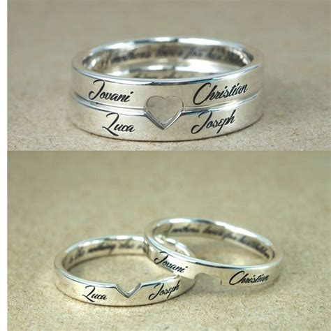 personalized stackable engagement rings customized names engraved rings cut out