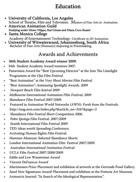 personal achievements on resume exles robynyannoukos resume
