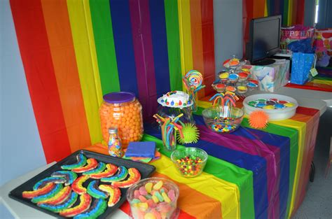 Decorating Ideas Using Plastic Tablecloths by Use Plastic Table Clothes Rainbow Decor Food Plastic