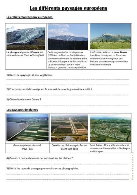 Carte Montagne Cycle 3 by Les Diff 233 Rents Paysages Europ 233 Ens Cm1 Cm2 Documents