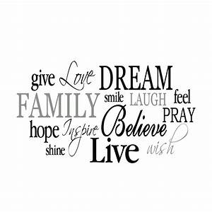 Family Word Collage Vinyl Wall Decal 2, Living Room, Entry ...