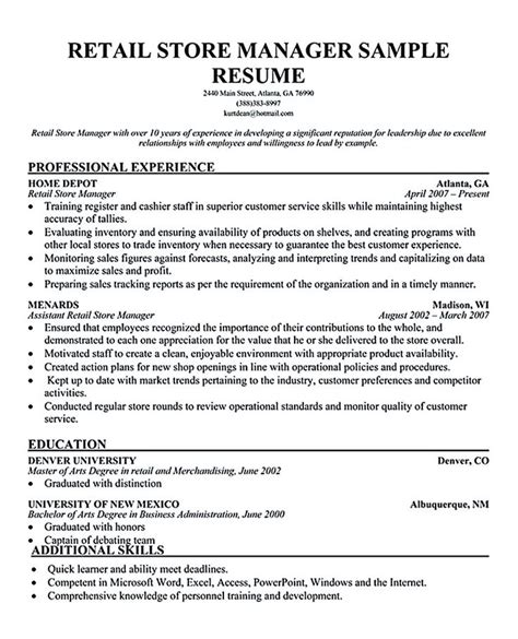 retail manager resume exles retail manager resume is