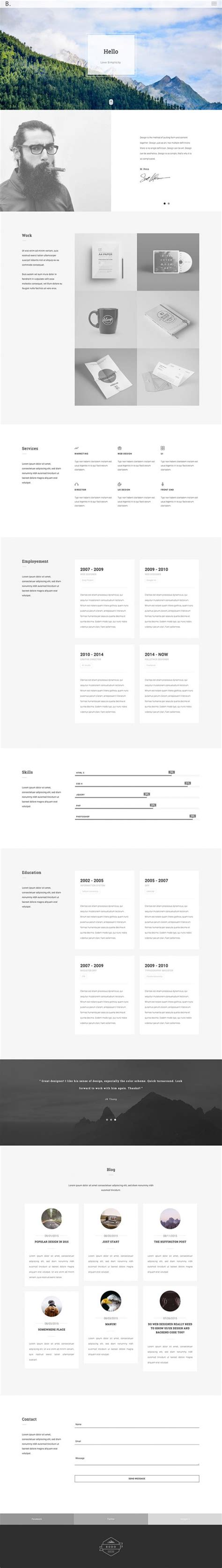 Bootstrap Resume Code by Bodo A Free Html Personal Portfolio Template Freebiesbug