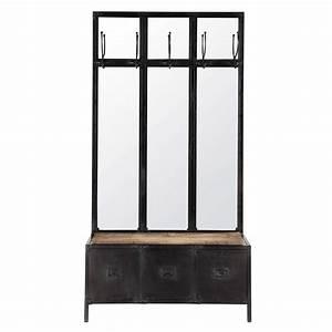 meuble d39entree avec miroir en metal noir l 100 cm scott With superb meuble style maison du monde 15 miroir de style industriel design
