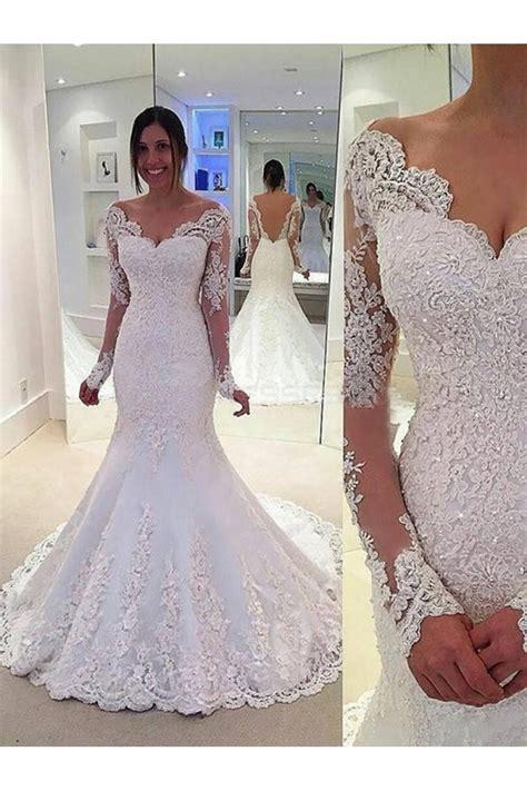 Lace Long Sleeves Mermaid Backless Wedding Dresses Bridal