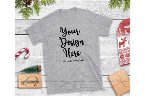Sport uniform in front view and back view. Sports Gray Christmas Tshirt Mockup Holiday Unisex Tee ...