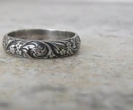 titanium wedding band sets engraved antique wedding band floral pattern ring silver