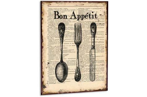 toile de cuisine cadre cuisine en métal bon appetit tableau gourmandise