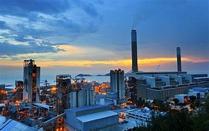 Industrial Plant Power Sunrise Hong Kong Architecture