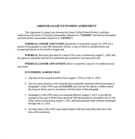 lease extension agreement template  sample
