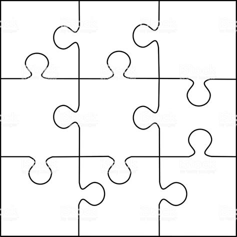 jigsaw puzzle template puzzle template 9 pieces vector stock vector more images of abstract 522100093 istock