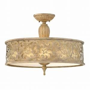 Decorative large filigree brushed gold semi flush ceiling