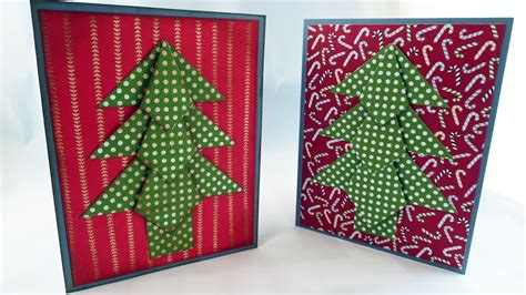 origami christmas tree card tutorial youtube