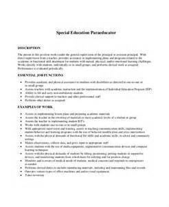 behavioral health paraprofessional description for resume special education paraprofessional resume sle