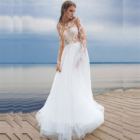 beach wedding dresses long sleeve lace bride dresses