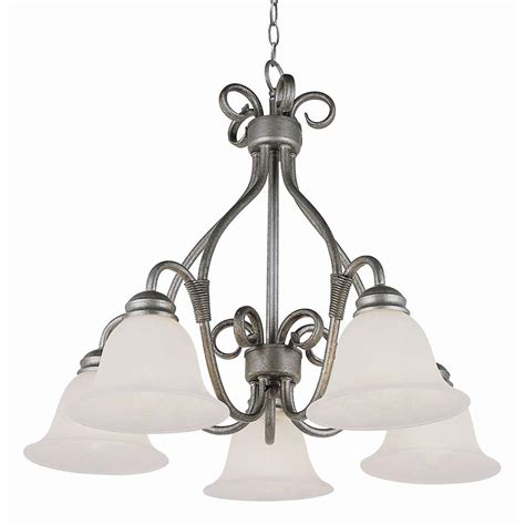 Pewter Chandelier by Bel Air Lighting Stewart 5 Light Pewter Chandelier With