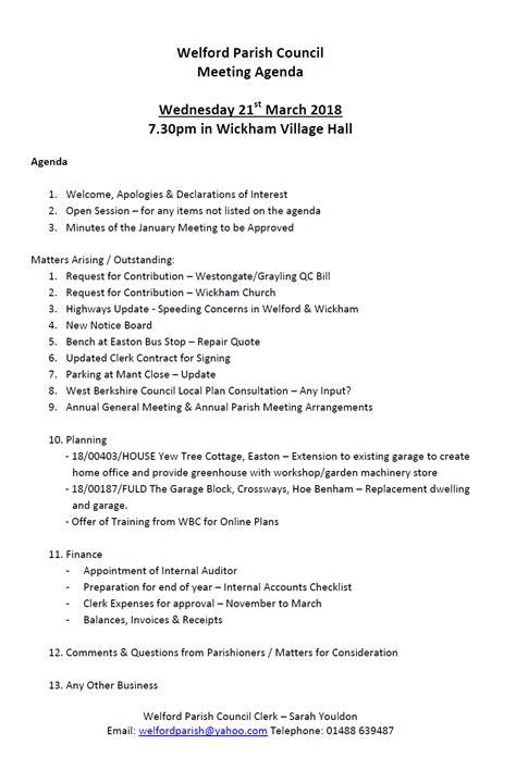 category agendas welford parish council
