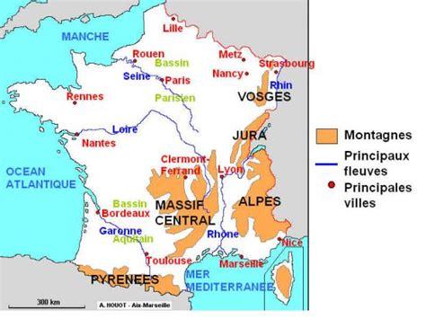 Carte De Avec Villes Fleuves Et Montagnes by La