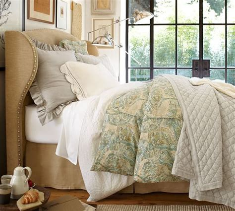 raleigh upholstered wingback bed headboard pottery barn