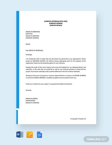 solicitation letter  financial support template