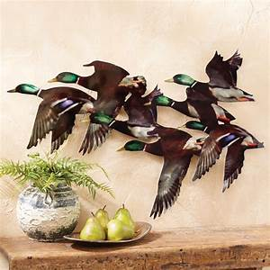 string of mallards metal wall hanging With best brand of paint for kitchen cabinets with black bear metal wall art